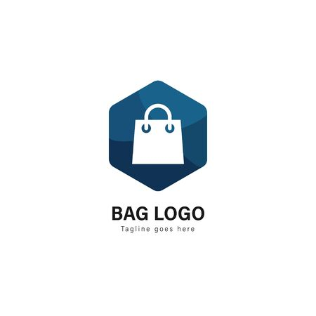 Shop logo template design. Shop logo with modern frame isolated on white background 写真素材 - 128907495