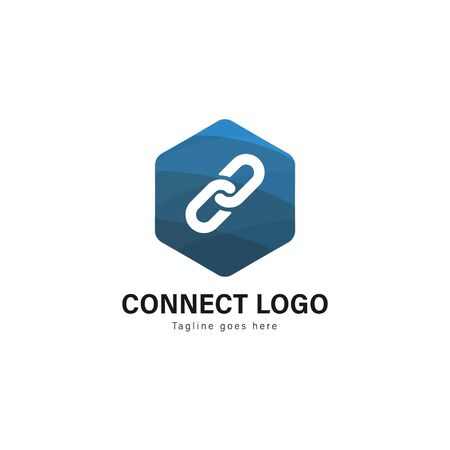 Connect logo template design. Connect logo with modern frame isolated on white background 写真素材 - 128907502
