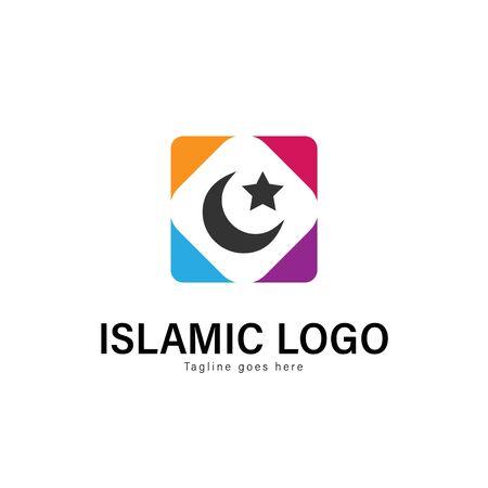 Islamic logo template design. Islamic logo with modern frame isolated on white background