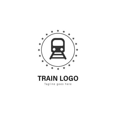 Train logo template design. Train logo with modern frame isolated on white background 写真素材 - 128907675