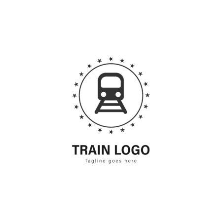 Train logo template design. Train logo with modern frame isolated on white background Zdjęcie Seryjne - 128907675