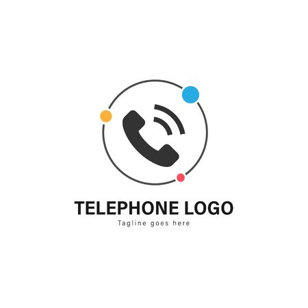 Telephone logo template design. Telephone logo with modern frame isolated on white background 写真素材 - 128907673