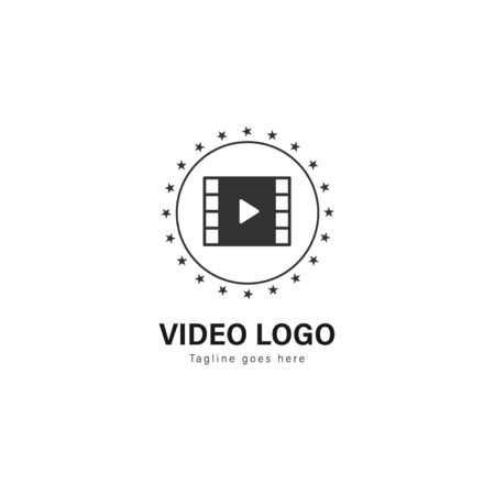 Video logo template design. Video logo with modern frame isolated on white background 写真素材 - 128907679