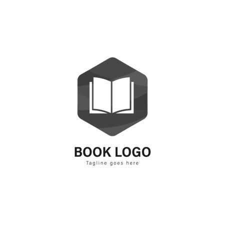 Book logo template design. Book logo with modern frame isolated on white background 写真素材 - 128907685