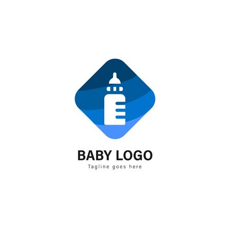 Baby logo template design. Baby logo with modern frame isolated on white background 스톡 콘텐츠 - 128978524