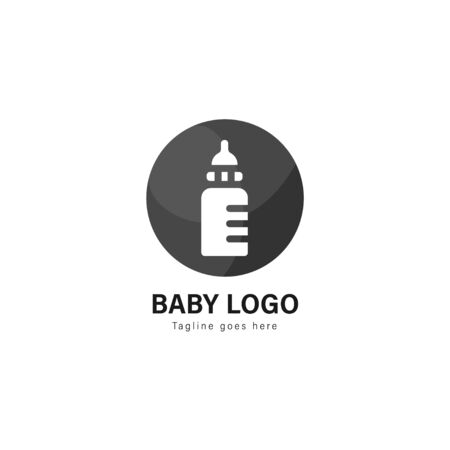 Baby logo template design. Baby logo with modern frame isolated on white background 스톡 콘텐츠 - 128981199