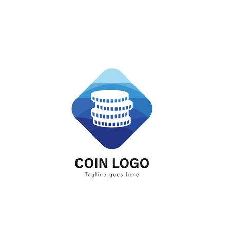 Coin logo template design. Coin logo with modern frame isolated on white background Ilustração