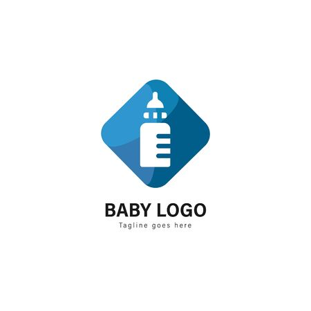 Baby logo template design. Baby logo with modern frame isolated on white background 스톡 콘텐츠 - 129036712