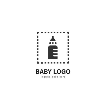 Baby logo template design. Baby logo with modern frame isolated on white background 스톡 콘텐츠 - 129037458