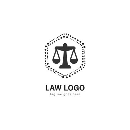 Law logo template design. Law logo with modern frame isolated on white background Illustration