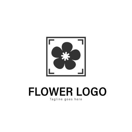 Flower logo template design. Flower logo with modern frame isolated on white background Standard-Bild - 129039468