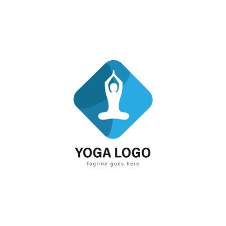 Yoga logo template design. Yoga logo with modern frame isolated on white background Standard-Bild - 129039682