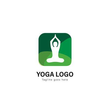 Yoga logo template design. Yoga logo with modern frame isolated on white background Standard-Bild - 129039694