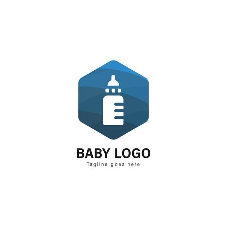 Baby logo template design. Baby logo with modern frame isolated on white background 스톡 콘텐츠 - 129040353