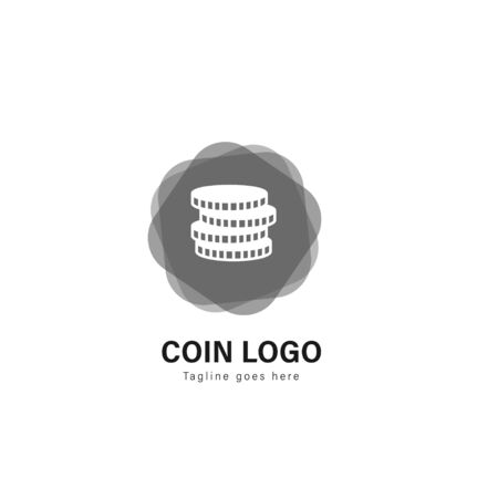 Coin logo template design. Coin logo with modern frame isolated on white background Illustration