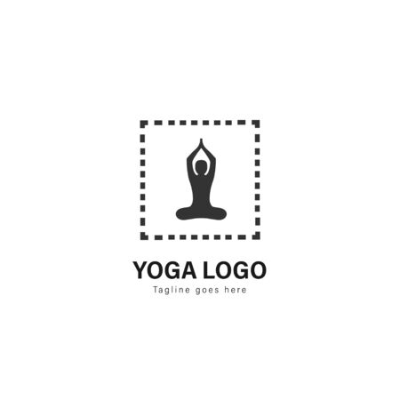 Yoga logo template design. Yoga logo with modern frame isolated on white background Standard-Bild - 129167223