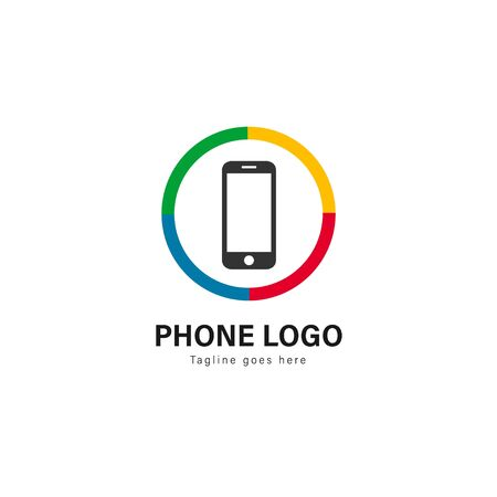 Smart phone logo template design. Smart phone logo with modern frame isolated on white background Archivio Fotografico - 129167422