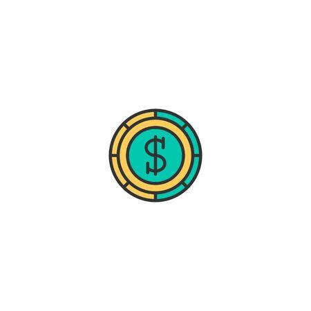 Coin icon design. Marketing icon vector illustration Foto de archivo - 129167466