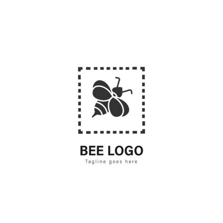 Bee logo template design. Bee logo with modern frame isolated on white background