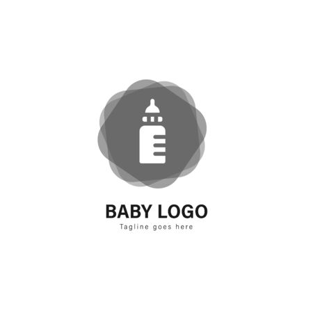 Baby logo template design. Baby logo with modern frame isolated on white background