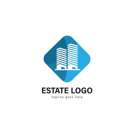 Real estate logo template design. Real estate logo with modern frame isolated on white background Фото со стока - 129275430