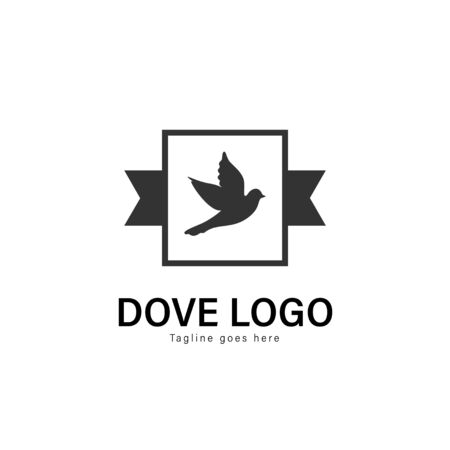 Dove logo template design. Dove logo with modern frame isolated on white background