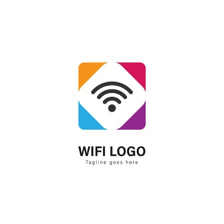Wifi logo template design. Wifi logo with modern frame isolated on white background