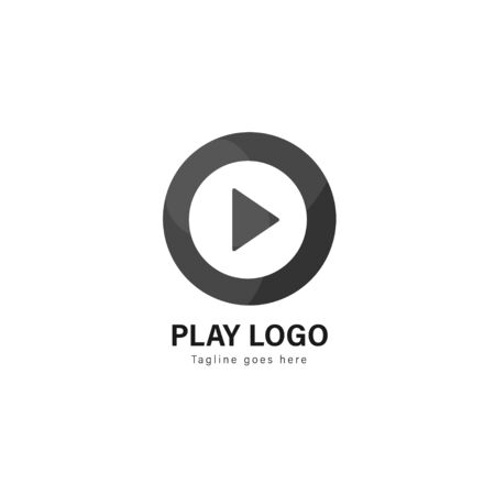Media play logo template design. Media play logo with modern frame isolated on white background Stock fotó - 129275851