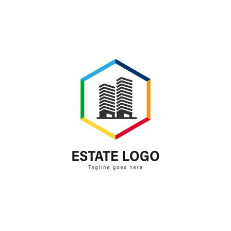 Real estate logo template design. Real estate logo with modern frame isolated on white background Фото со стока - 129275858