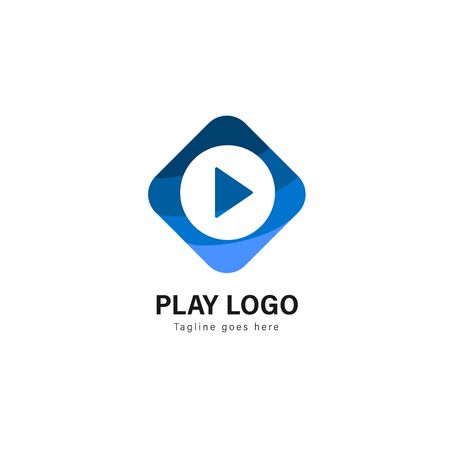 Media play logo template design. Media play logo with modern frame isolated on white background Stock fotó - 129275967