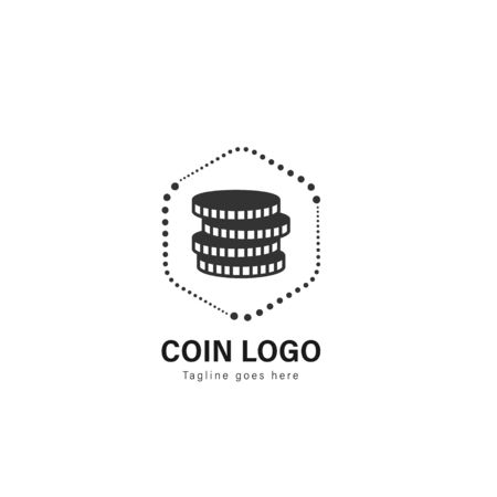 Coin logo template design. Coin logo with modern frame isolated on white background Иллюстрация
