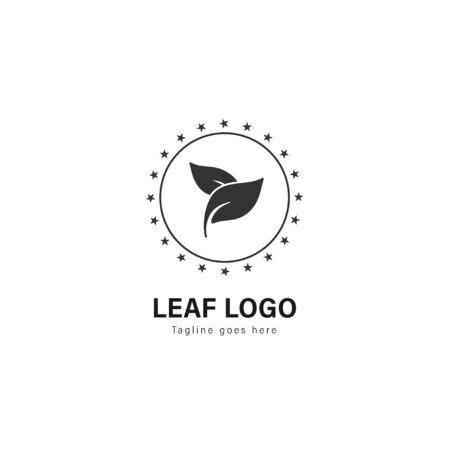 Leaf logo template design. Leaf logo with modern frame isolated on white background