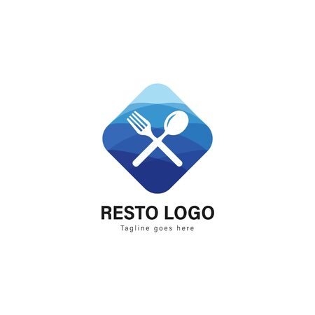 Restaurant logo template design. Restaurant logo with modern frame isolated on white background