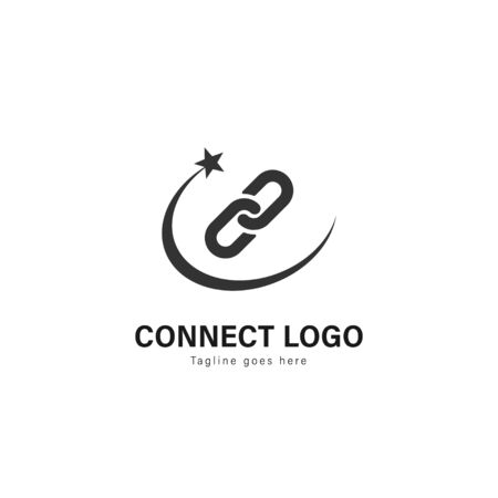 Connect logo template design. Connect logo with modern frame isolated on white background