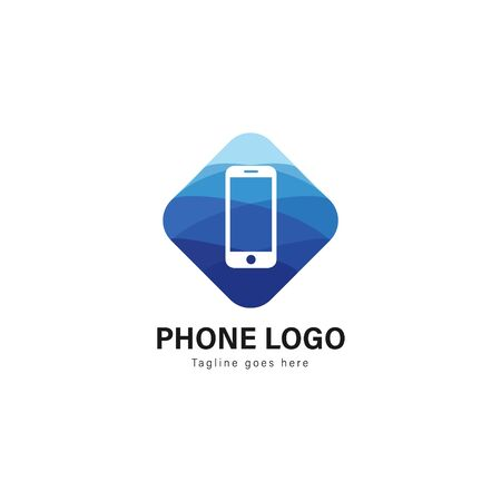 Smart phone logo template design. Smart phone logo with modern frame isolated on white background  イラスト・ベクター素材