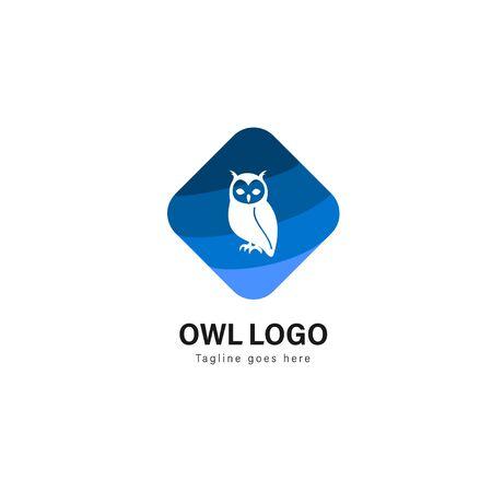 Owl logo template design. Owl logo with modern frame isolated on white background Stockfoto - 129276473