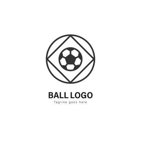 Soccer logo template design. Soccer logo with modern frame isolated on white background