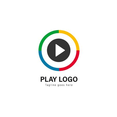 Media play logo template design. Media play logo with modern frame isolated on white background Stock fotó - 129276483