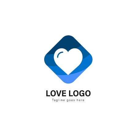 Love logo template design. Love logo with modern frame isolated on white background