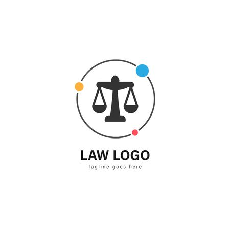 Law logo template design. Law logo with modern frame isolated on white background Stock Illustratie