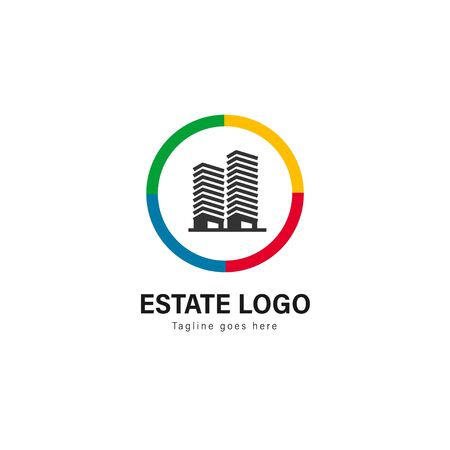Real estate logo template design. Real estate logo with modern frame isolated on white background Stockfoto - 129276539