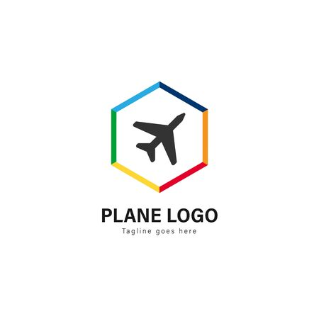 Plane logo template design. Plane logo with modern frame isolated on white background
