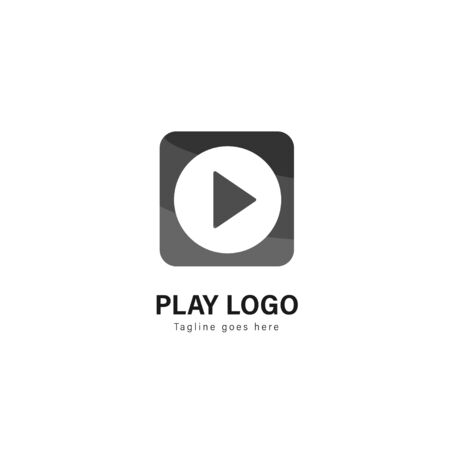 Media play logo template design. Media play logo with modern frame isolated on white background Stock fotó - 129276543