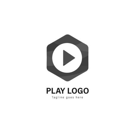 Media play logo template design. Media play logo with modern frame isolated on white background Illusztráció