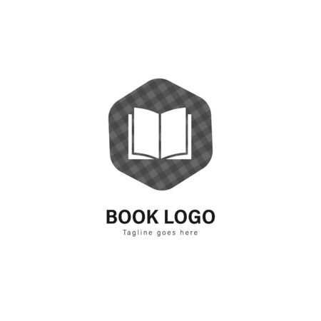 Book logo template design. Book logo with modern frame isolated on white background Stockfoto - 129276557
