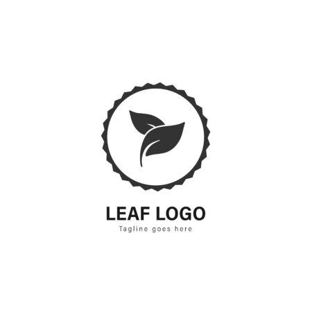 Leaf logo template design. Leaf logo with modern frame isolated on white background Stockfoto - 129276579