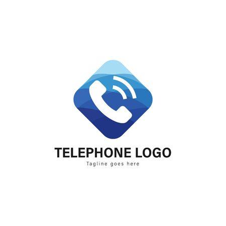 Telephone logo template design. Telephone logo with modern frame isolated on white background Stockfoto - 129276583