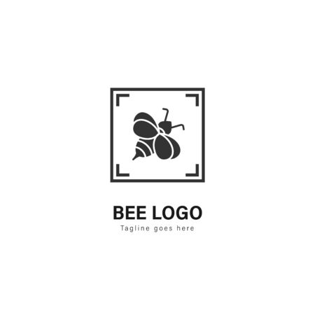 Bee logo template design. Bee logo with modern frame isolated on white background Stockfoto - 129276587