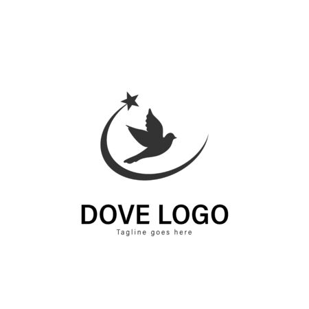 Dove logo template design. Dove logo with modern frame isolated on white background Banque d'images - 129276593