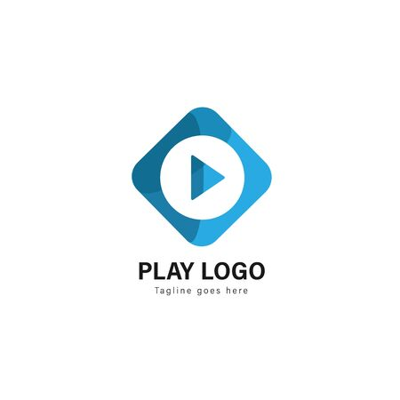 Media play logo template design. Media play logo with modern frame isolated on white background Stockfoto - 129276624